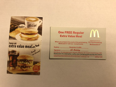 10 Mcdonald Vouchers - Expires 12/31/2020 - 2-3 Days Shipping
