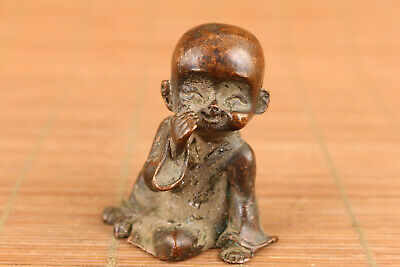 Chinese old bronze handmade buddha child statue figure collectable ornament gift