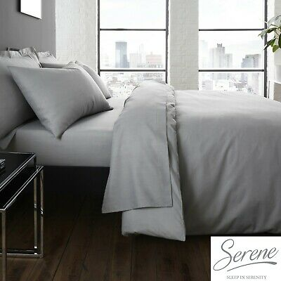 Plain Dye Easy Care Mix and Match Duvet Cover /& Sheets In Denim By Serene