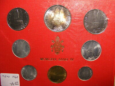 Vatican 1966 Mint Set - 8 Coins With Silver 500 Lire, Red card