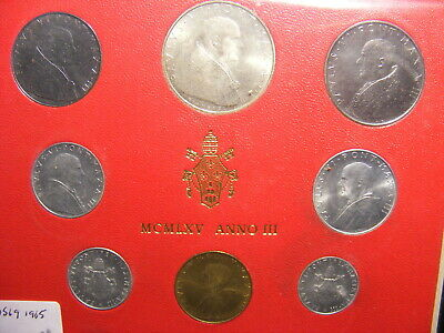 Vatican 1965 Mint Set - 8 Coins With Silver 500 Lire, Red card