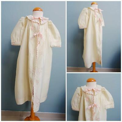 Antique Babys Nightgown Edwardian Dressing Gown Cream Crepe Pink Embroidery