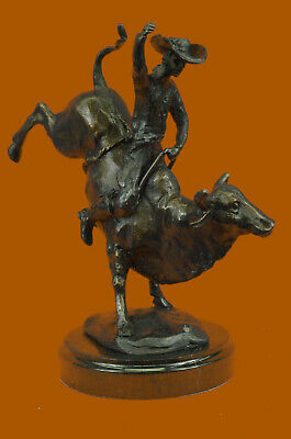 Cowboy Riding Bull Rodeo Bronze Sculpture Marble Base Statue Figurine Figure NR