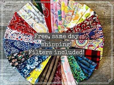Face Mask (pocket style), filters included! Washable & 100% cotton. Handmade!