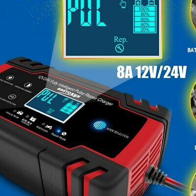 Smart LCD Car Battery Charger 12V 24V Automatic Pulse Repair Motorcycle Lorry UK