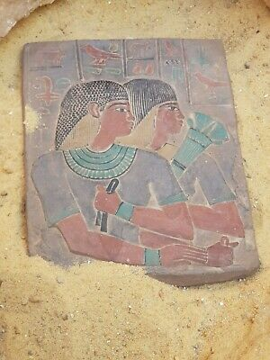 Rare Antique Ancient Egyptian Stela 2 musicians Writen Song Hiroglyphic 1740 BC