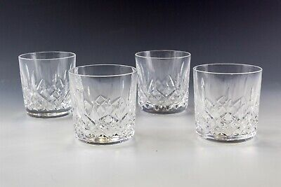 Set Of 4 Signed Waterford Deep Cut Crystal Lismore Old Fashioned Tumbler NR MLL