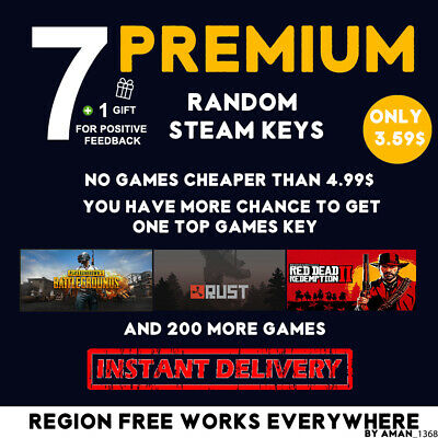 7 Premium Random Steam Keys [Rust, Red Dead Redemption 2, Pubg And More]