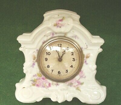 ANTIQUE CLOCK PORCELAIN PAINTED FLOWERS BOUDOIR BEDROOM CLOCK WORKING circa 1900