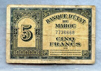Morocco ~ 1943 ~ 5 Francs Note ~ F