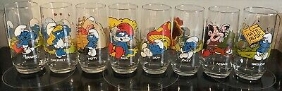 Vintage Smurf Glasses Set of 8 PEYO Wallace BERRIE CO 1982-1983