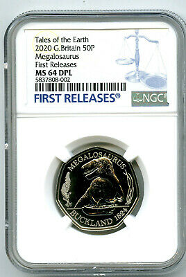 2020 Great Britain 50P Ngc Ms64 Dpl Megalosaurus Dinosaur First Releases