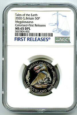 2020 Great Britain 50P Ngc Ms65 Dpl Color Megalosaurus Dinosaur First Releases