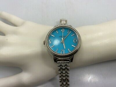 Vintage Sterling Silver ECCLISSI Blue Face Wristwatch 33820