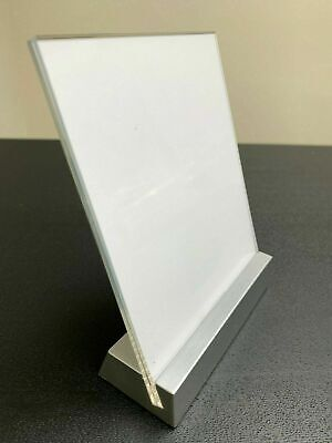 Tabletop Countertop Sign Holder Display Stand, Clear Acrylic, Silver Base 5.5x4""