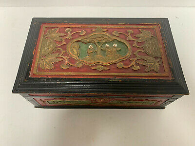 Antique Chinese Carved Cinnabar & Lacquer Red White Trinket Box