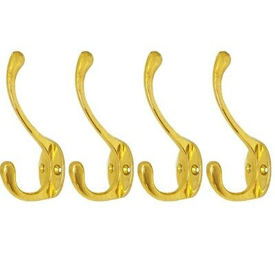 "4 COAT HOOKS hallstand door solid heavy solid brass polished old style 4"" B"