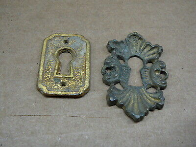 LOT of 2 ANTIQUE SALVAGED CAST BRASS VERTICAL  KEYHOLE COVERS ESCUTCHEONS - #2