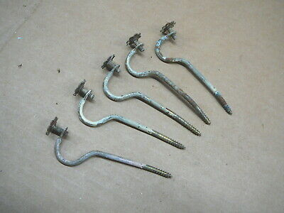 LOT of 5 ANTIQUE SCREW MOUNT - FLORAL FINIAL CURTAIN ROD HOLDERS BRONZE FINISH