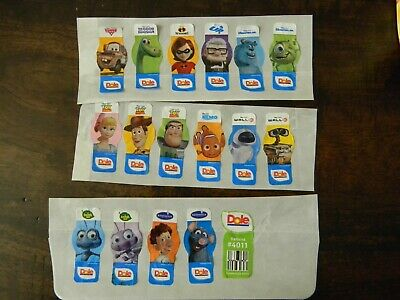 16 Different Dole Banana Stickers - Various Disney / Pixar Characters