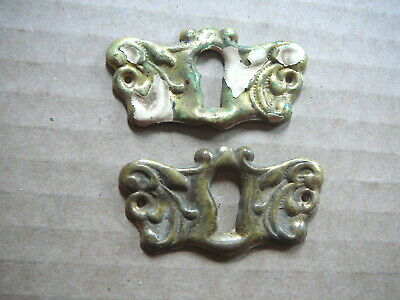 SET of 2 ANTIQUE ORNATE STAMPED BRASS KEYHOLE COVERS ESCUTCHEONS -1x2 -  #11