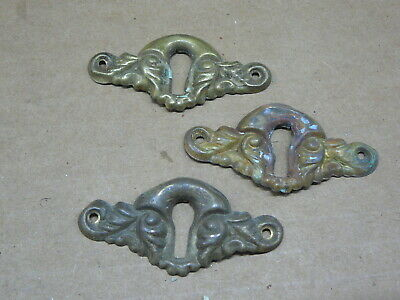 """SET of 3 ANTIQUE SALVAGED  BRASS KEYHOLE COVERS ESCUTCHEONS 2"""" x 1"""" - #5"""