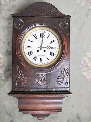 Antique Rare French Circa 1800's R. Brunel Luneral Wooden Wall Clock