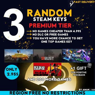 3 Premium Random Steam  Key Keys [Rust, Red Dead Redemption 2, Pubg And More]