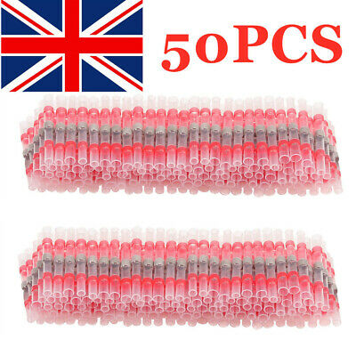50PCS Red Heat Shrink Solder Seal Sleeve Butt Wire Connectors Terminals 22-18AWG