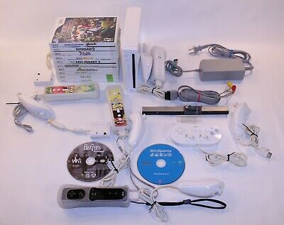 Nintendo Wii System Console Lot Set Working Bundle Video Games Extras RVL-001 NR