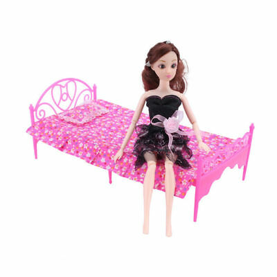 2x Pink Mini Bed Bedroom Dollhouse Furniture For Barbie Dolls Toys Accessories