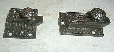 Two Antique Cast Iron East Lake Cupboard Latches. No Hasps.