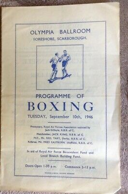 Vintage 1946 Boxing Programme Freddie Mills Exhibition Bout Plus 6 Other Bouts.