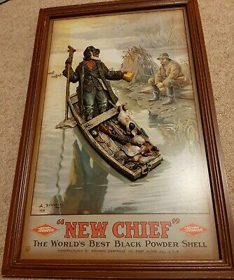 """1890 era Antique 2 & 3 Dimensional Advertising Sign, """"New Chief"""" A. Russell"""