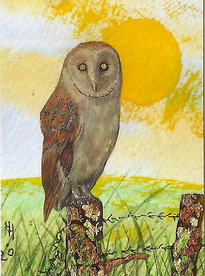 """ACEO """"Barn Owl"""" Original Collage & Acrylic Painting, By Hélène Howse"""