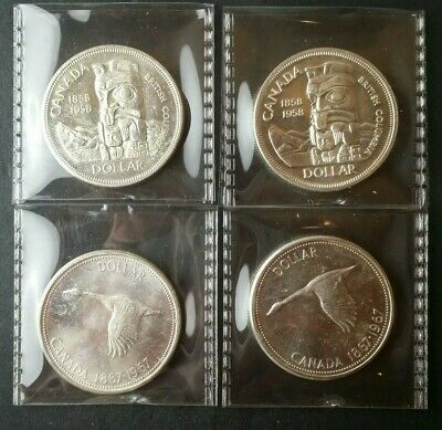 Two 1958 and Two 1967 $1 Canada Commemorative Silver Dollars