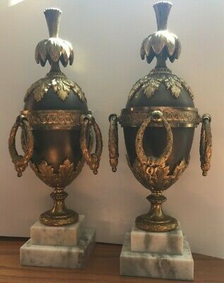 Vintage/Antique SOLID BRONZE Firedogs w/ white marble bases + gilded metal.