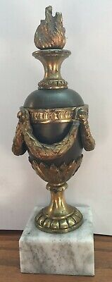 Antique classically shaped bronze Urn w/ white marble base + gold gilt metal.