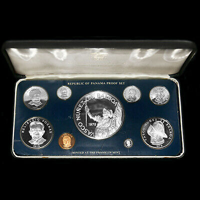 1978 Panama (9 Coin) Silver Proof Set Franklin Mint Issue +Box Rare Silver Issue