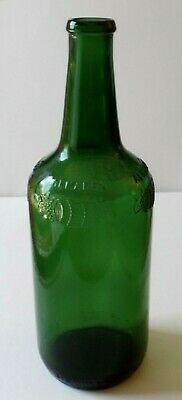Antique Vintage Embossed ALMADEN 4/5 QUART Dark Green Glass Wine Bottle w/o Cork