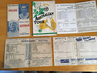 1948 Collection of 5 Scorecards / Programmes from Ashes Series inc 1948 Leeds SC