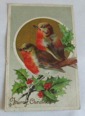 Vintage Postcard 1913 Merry Christmas Wishes Holly Holiday Birds Finch