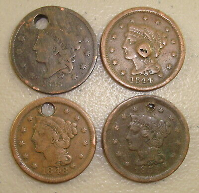 Lot of (4) Different 1835-1852 Coronet Head & Braided Hair Large Cents Holed