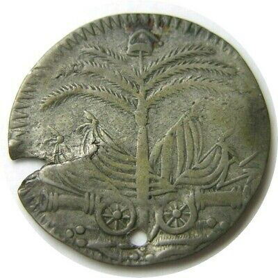 elf Haiti Western Republic 25 Centimes  An 10 (1813)  Cannons Flags Palm Tree