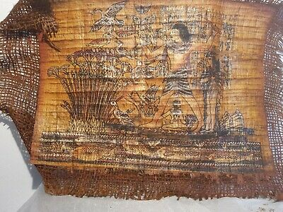 Rare Antique Ancient Egyptian Papyrus King Ramses Hunt Duck Boat River fis1213BC