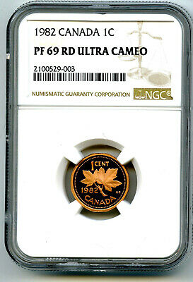 1982 Canada Cent Ngc Pf69 Rd Proof Penny Extremely Rare Pop Only 9