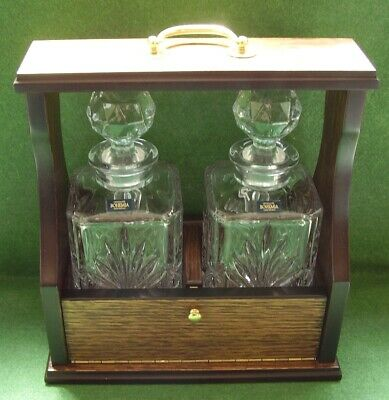 Antique Style Tantalus 2 Bohemia Chunky Crystal Glass Decanters Nice Quality