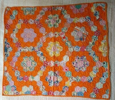Vintage Grandmothers Flower Garden Quilt  1930s Feedsack Table Doll Hand Stiched