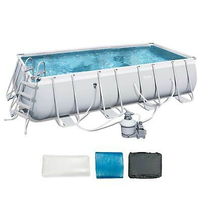 Bestway 18ft x 9ft x 48in Rectangular Above Ground Swimming Pool w/Ladder & Pump