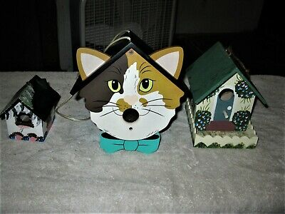 SET of 3 STUNNING HAND PAINTED Home Decotaive Bird Houses (1 Cat) Very Unique